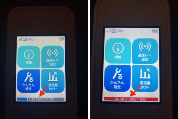 WiMAX 3日10GB ディスプレイ 表示