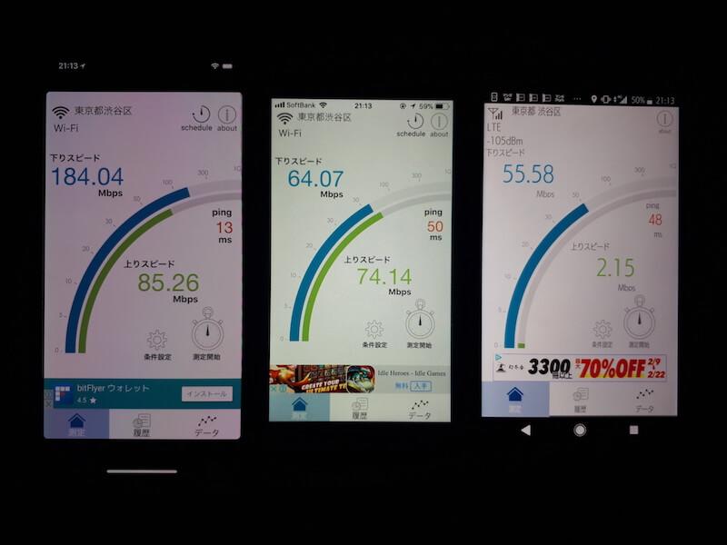 光回線 ポケットWi-Fi 速度比較