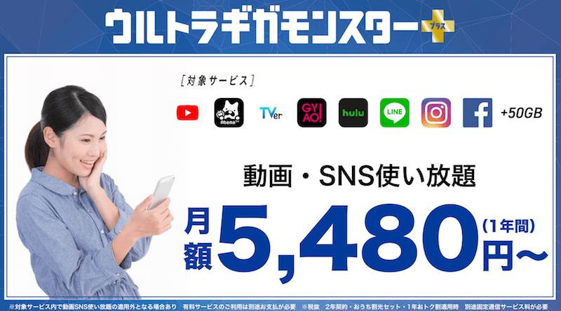 ソフトバンク 50GB ウルトラギガモンスター+