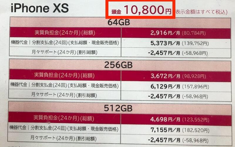 iPhoneXS ドコモ 頭金