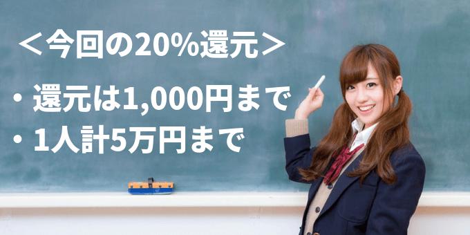 paypay 20%還元 1,000円まで