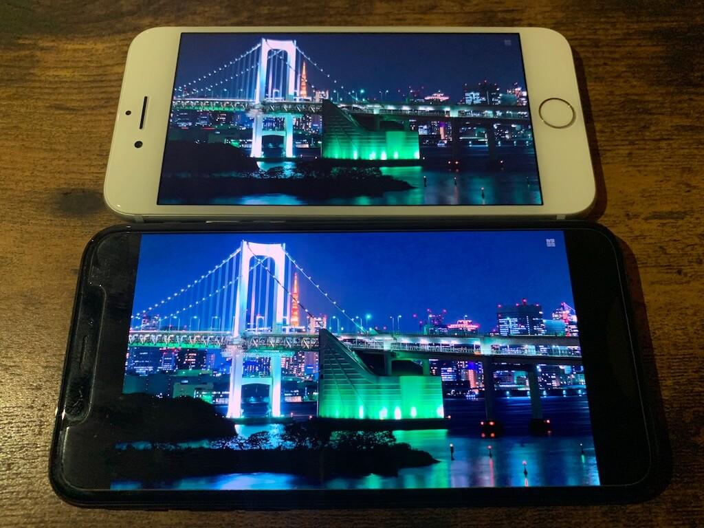 iPhone7 iPhoneXS ディスプレイ比較