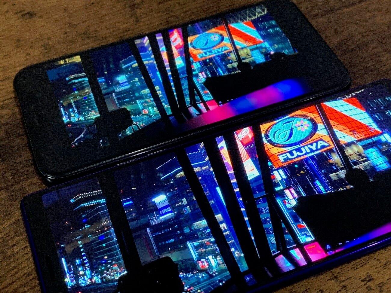 Xperia 1 iPhone XS 解像度 比較
