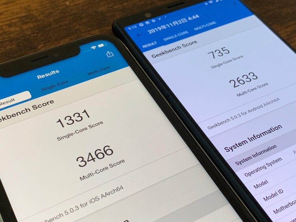 Xperia5 iPhone11 ベンチマーク 比較