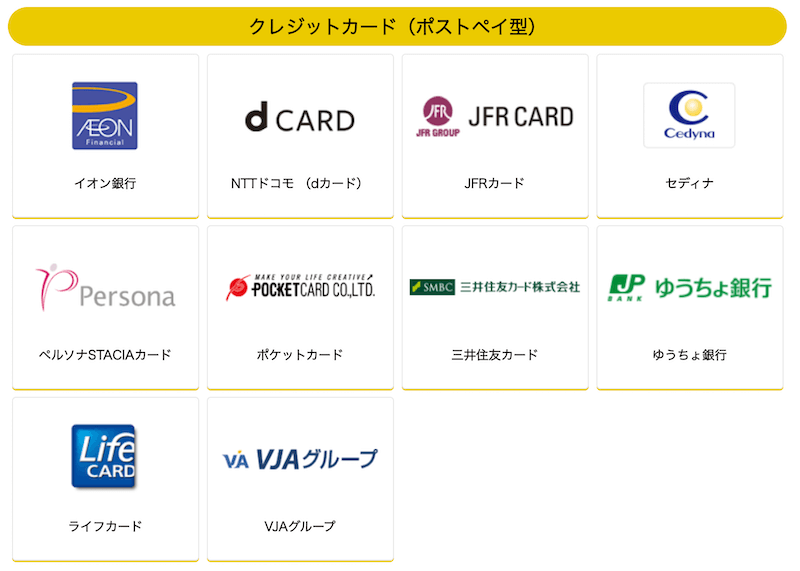 iDの対応クレジットカード