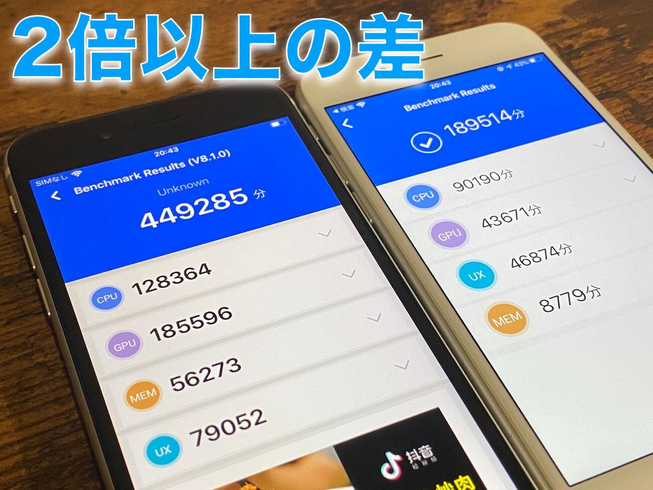 iPhone SE(第2世代) iPhone8 antutuベンチマーク