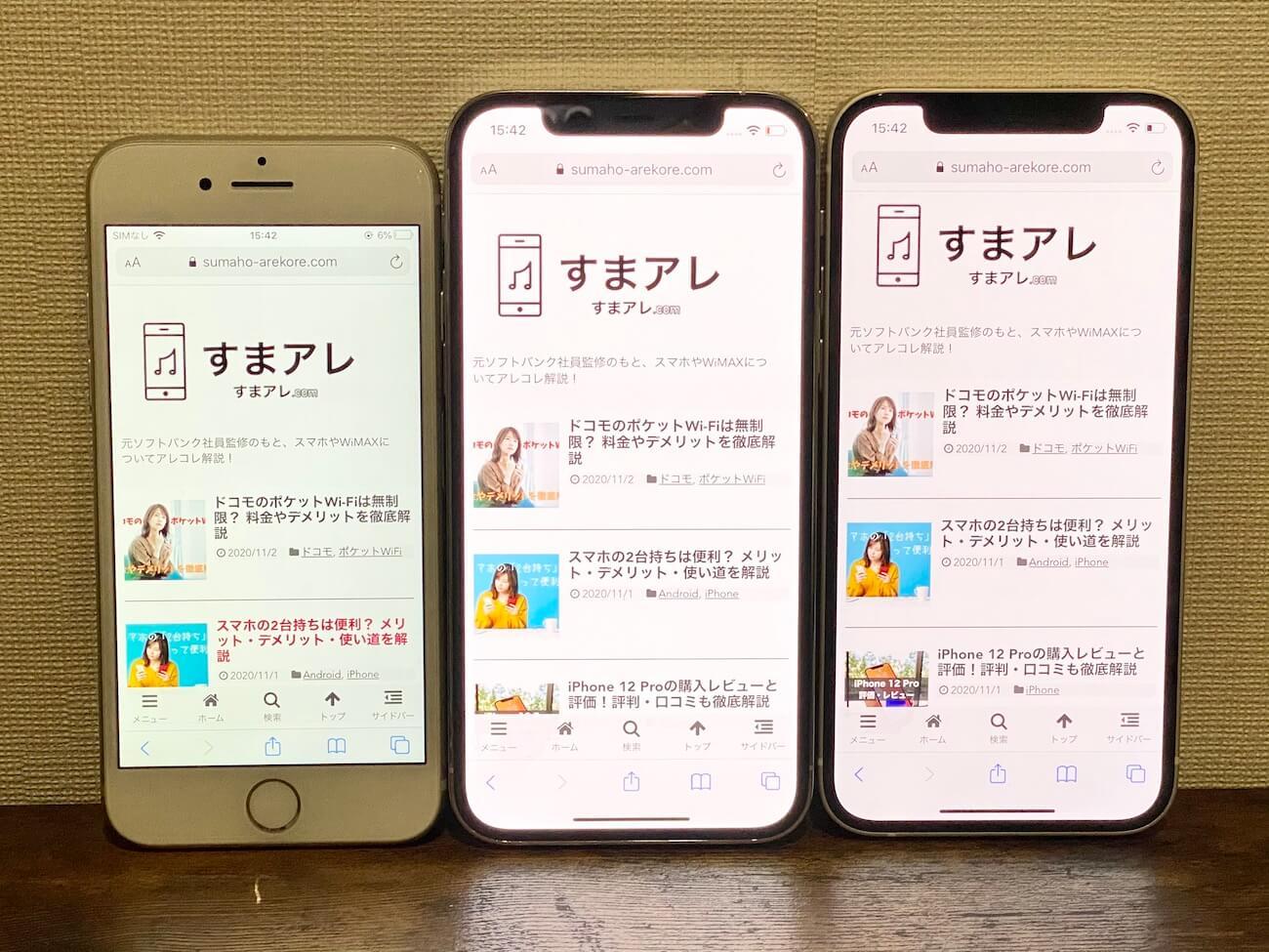 iPhone 12 12pro 画面サイズ 比較